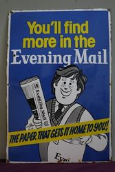 Evening Mail Enamel Advertising Sign