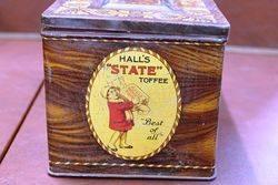 Halls State Toffee Writing Box Tin