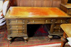 Late C19th 7 Drawer Oak Desk.#