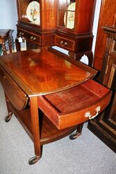 Quality Mahogany Drop side Tea Trolley with Drawer