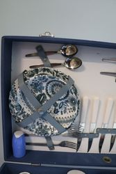 Retro 1950and39s Brexton Picnic Set For Six In Blue Case
