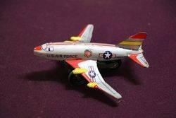 Vintage Saito U.S Air Force USAF Airplane Friction Tin Toy.#