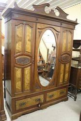 Edwardian Walnut Oval Mirror Wardrobe.#