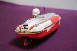 Y3 Wind Up Emerald Boat Crank Yonezawa Japan Tin Toy